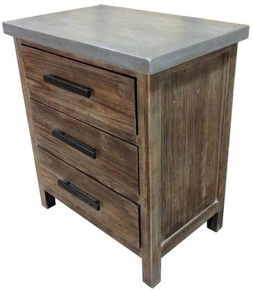 Venezio Collection 2100015 Small Cabinet with 3 Drawers and Faux Cement Top in Rustic