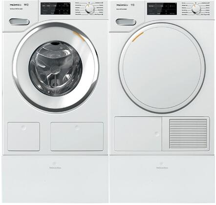 White Front Load Laundry Pair with WWH660WCS 24 inch  Front Load Washer  TWF160WP 24 inch  Electric Dryer  and