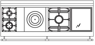 180 US N3 Cooktop Configuration with 2 Burners  French Top  Power Burner and Electric