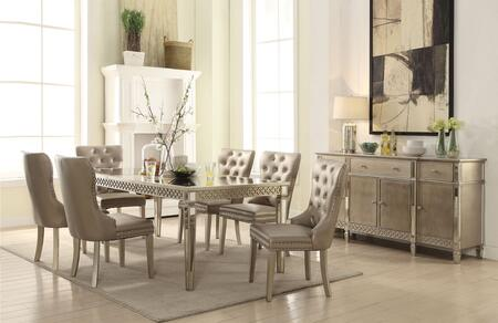 Kacela Collection 721558SET 8 PC Dining Room Set with Extendable Dining Table  Server and 6 PU Leather Upholstered Side Chairs in Champagne
