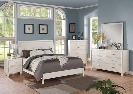 Tyler 22540Q5PC Bedroom Set with Queen Size Bed + Dresser + Mirror + Chest + Nightstand in White