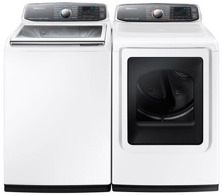 """White Top Load Laundry Pair with WA52J8700AW 27"""""""" Steam Washer with 5.2 cu. ft. Capacity and DV52J8700GW 27"""""""" Gas Dryer with 7.4 cu. ft."""" 474326"""