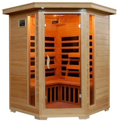 Sante Fe SA2412DX Infrared 3 Person Carbon Sauna with Bronze Tinted Tempered Glass Door  Oxygen Ionizer  CHROMOTHERAPY System  Recessed Interior Lighting