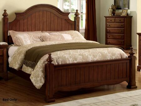 Palm Coast Collection CM7888CK-BED California King Size Panel Bed with Distressed Style  Solid Wood and Wood Veneers Construction in Light Walnut