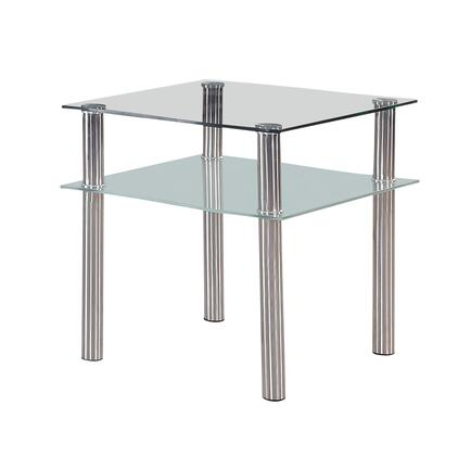 8086E Glass Top End Table with Under Shelf and Silver