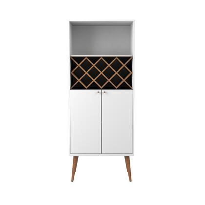 89952 Utopia 10 Bottle Wine Rack China Storage Closet with 4 Shelves in White Gloss and Maple
