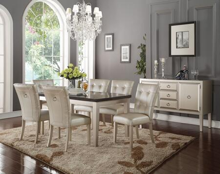 Voeville II Collection 720258SET 8 PC Dining Room Set with Bluestone Marble Top Dining Table  Server and 6 PU Leather Upholstered Side Chairs in Platinum