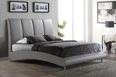 8272-GR-KB King Size Platform Bed with PU Faux Leather Upholstery  Chrome Metal Legs and Arched Base Design in