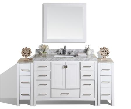 PVN-MALIBU-12-48-12-WH-UND-M 72 inch  Malibu White Single Modern Bathroom Vanity With 2 Side Cabinets  White Marble Top With Undermount Sink And