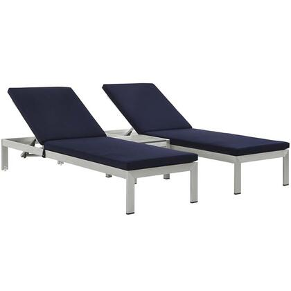 Shore Collection EEI-2736-SLV-NAV-SET 3-Piece Outdoor Patio Chaise Set with Side Table and 2 Chaises in