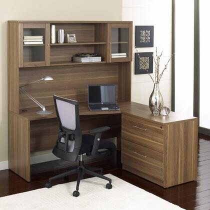 1C100001RES Espresso Corner L Shaped Desk - Rigth Side with Hutch and Lateral