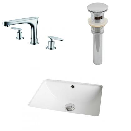 AI-13057 18.25-in. Width x 13.75-in. Diameter CUPC Rectangle Undermount Sink Set In White With 8-in. o.c. CUPC Faucet And
