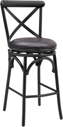 DS-D075 Distressed Antique Black Metal Swivel Barstool with Classic 'X' Back Design  All-Metal Construction and Hand Distressed Black Finished Metal in Dark