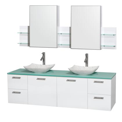 WCR410072DGWGGGS6MED 72 in. Double Bathroom Vanity in Glossy White  Green Glass Countertop  Arista White Carrera Marble Sinks  and Medicine