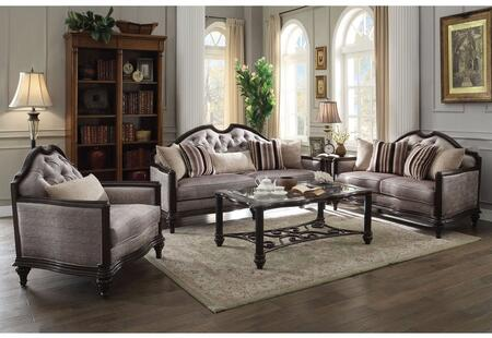 Azis Collection 537705S 5 PC Living Room Set with Sofa  Loveseat  Chair  Coffee Table and End Table in Dark Walnut