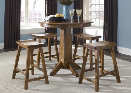 Creations II Collection 38-CD-5PUB 5-Piece Pub Set with Pub Table and 4 Sawhorse Barstool in Tobacco