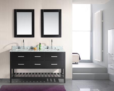 DEC077C London 61 inch  Double Sink Vanity Set in Espresso with Open