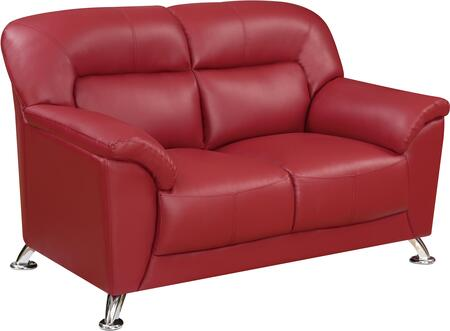 U9102REDLOVESEAT 55 inch  Loveseat with Plush Padded Arms  Stainless Steel Legs and Stitched Detailing in Blanche Red