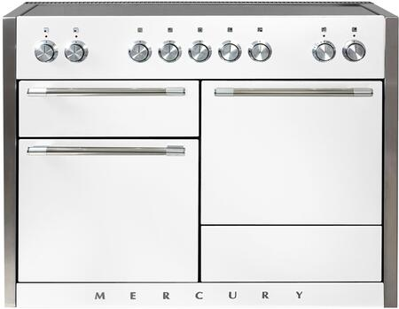 "AMC48INWHT 48"" Freestanding Range with 5 Induction Burners 3700 Watt Boost Three Ovens Hi-Fi Knobs Controls 8-Pass 2500 Watt Broiler and Extendable Gliding"