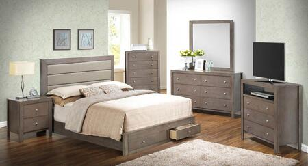 G2400 Collection G2405cksbset 6 Pc Bedroom Set With King Size Storage Bed + Dresser + Mirror + Chest + Nightstand + Media Chest In Grey