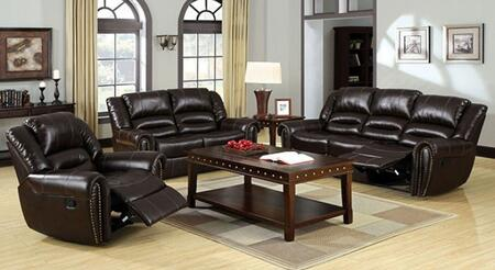 Dundee Collection CM6960-SLR 3-Piece Living Room Set with Motion Sofa  Motion Loveseat and Recliner in Dark