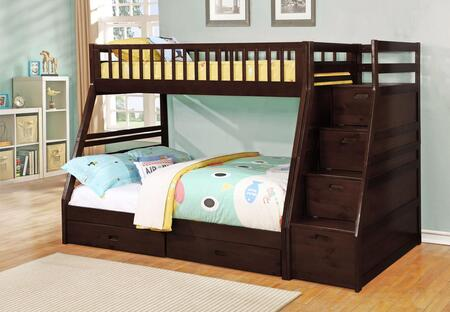 Merlin Collection 9062-ESP Twin Over Full Size Bunk Bed with Storage Staircase  Underbed Storage Drawers  Solid Hardwoods and Wood Veneers Material in Espresso