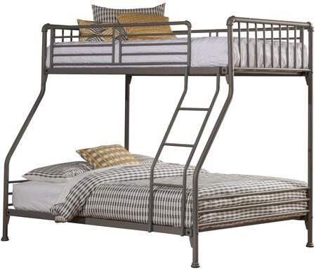 Brandi Collection 2098BTF Twin Over Full Size Bunk Bed with Open Frame Design  Ladder  Guardrails and Sturdy Steel Metal Construction in