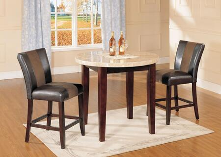 Britney 17218T2C 3 PC Bar Table Set with Counter Height Table + 2 Counter Height Chairs in Walnut