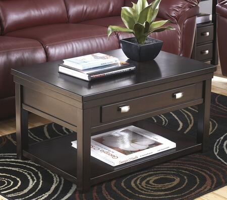 T864-9 Hatsuko Lift Top Cocktail Table with Simple Pulls  Bottom Shelf and Block Feet in