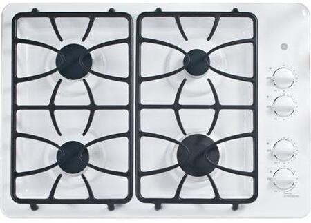 "JGP333DETWW 30"" Gas Cooktop with 4 Sealed Burners  PowerBoil 15 000 BTU Burner  Precise Simmer Burner and Dishwasher-Safe Medium-Cast Grates  in"