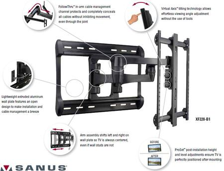 HDpro Series XF228 Full-Motion Wall Mount Dual Extension Arms For 42 inch  To 84 inch  Flat-Panel TVs With QuickConnect  Extends 28 inch   FollowThru  ProSet  Virtual Axis