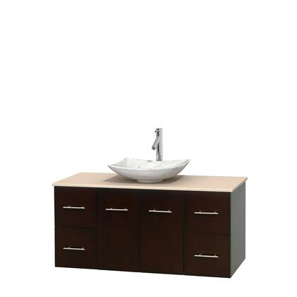 WCVW00948SESIVGS6MXX 48 in. Single Bathroom Vanity in Espresso  Ivory Marble Countertop  Arista White Carrera Marble Sink  and No
