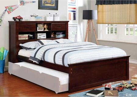 Pearland Collection CM7844F-BED Full Size Bed with Bookcase Headboard  Solid Wood and Wood Veneers Construction in Dark Walnut
