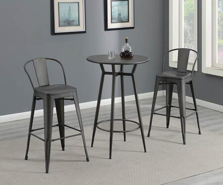 Lex Collection 182950-S3 3-Piece Bar Table Set with Round Bistro Bar Table and 2 Bar Stools in Dark