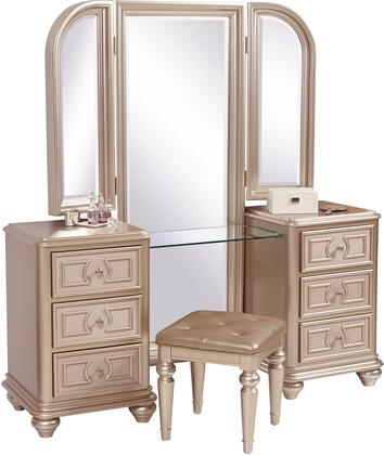 Dynasty Collection S044-BR-K3 3-Piece Vanity Set with Vanity Desk  Mirror and Stool in