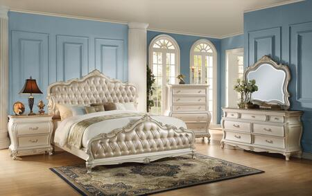 Chantelle 23537EK5PC Bedroom Set with Eastern King Size Bed + Dresser + Mirror + Chest + Nightstand in Pearl White