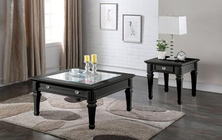Adalyn Collection 80535SET 2 PC Living Room Table Set with Coffee Table + End Table in Black