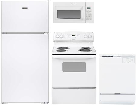 4-Piece White Kitchen Package with HPE15BTHWW 28 inch  Top Freezer Refrigerator  RB720DHWW 30 inch  Freestanding Electric Range  RVM5160DHWW 30 inch  Over the Range Microwave