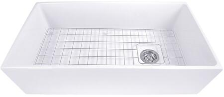 T-FCFS36 36 Inch Farmhouse Fireclay Sink with Offset Drain and
