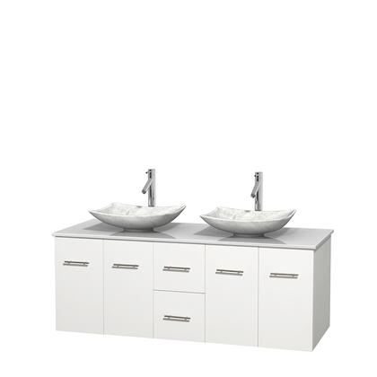 Wcvw00960dwhwsgs6mxx 60 In. Double Bathroom Vanity In White  White Man-made Stone Countertop  Arista White Carrera Marble Sinks  And No