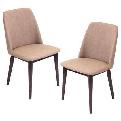 Tintori Chr-tnt Mbn+e2 Set Of (2) 33 Dining Chair With Woven Fabric Upholstery  Wooden Frame And Tapered Legs In