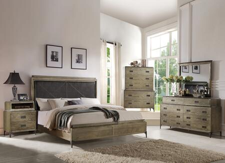 Athouman Collection 23907EKSETWC 5 PC Bedroom Set with King Size Bed + Dresser + Mirror + Chest + Wireless Charger Nightstand in Weathered Oak