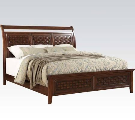 Carmela Collection 24780Q Queen Size Bed with Wood Grid Wicker Pattern  Low Profile Footboard  Sleigh Headboard and Wood Construction in Walnut