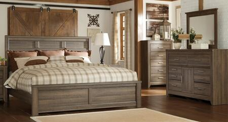 Juararo Queen Bedroom Set With Panel Bed  Dresser  Mirror And Chest In Dark