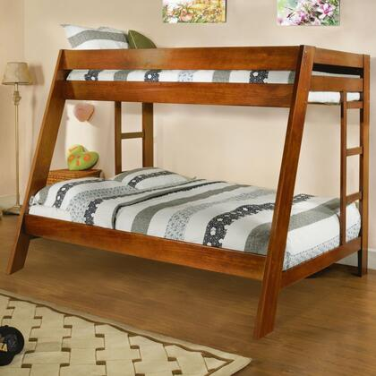Arizona Collection CM-BK358OAK-BED Twin Over Full Bunk Bed with Both Sides Ladder  Top and Bottom Slats  Solid Wood and Wood Veneers Construction in Oak