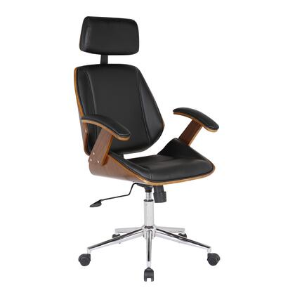 LCCEOFCHBL Century Office Chair with Multifunctional Mechanism in Chrome finish with Black Pu and Walnut Veneer