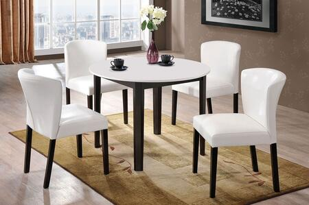 Taden Collection 71445SET 5 PC Dining Room Set witt Dining Table + 4 Side Chairs in White and Dark Cherry