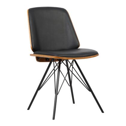 Inez Collection LCINCHWABLACK Mid-Century Dining Chair in Black Faux Leather with Black Powder Coated Metal Legs and Walnut Veneer