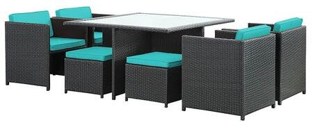 Inverse Collection EEI726EXPTRQ 9 PC Outdoor Patio Dining Set with 4 Chairs  4 Stools  Tempered Glass Top Table and All-Weather Rattan Construction in Espresso