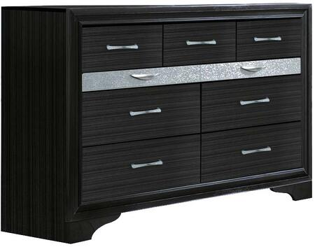 Naima Collection 25905 63 inch  Dresser with 9 Drawers  Silver Metal Hardware  Light Grey Acrylic Trim  Rubberwood and Chipboard Materials in Black